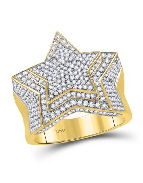 10kt Yellow Gold Unisex Round Diamond Star Big Look Cluster Ring 1-3/4 Cttw