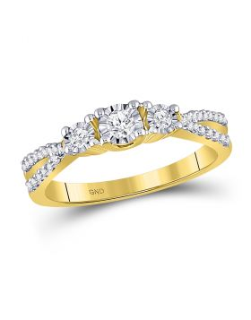 10kt Yellow Gold Womens Round Diamond 3-stone Bridal Wedding Engagement Ring 1/3 Cttw