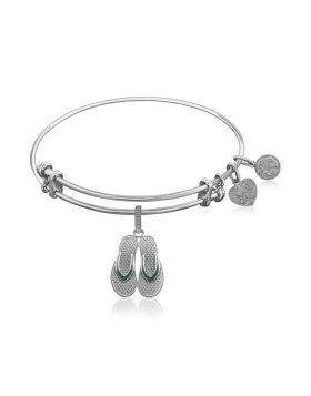 Expandable Bangle in White Tone Brass with Enamel Flip Flop Charm Symbol