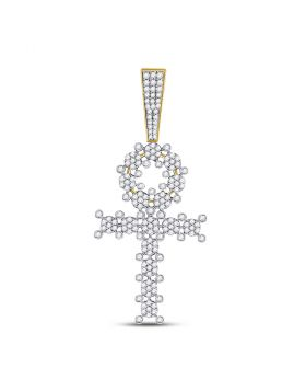 10kt Yellow Gold Unisex Round Diamond Ankh Cross Charm Pendant 1.00 Cttw