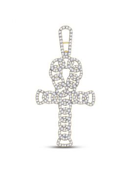 10kt Yellow Gold Unisex Round Diamond Ankh Cross Charm Pendant 7/8 Cttw