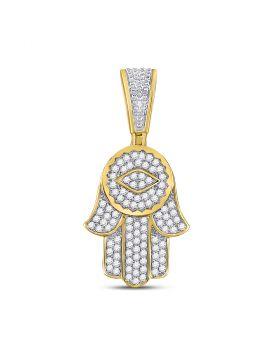 10kt Yellow Gold Unisex Round Diamond Hamsa Charm Pendant 7/8 Cttw
