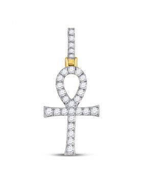 10kt Yellow Gold Unisex Round Diamond Ankh Cross Charm Pendant 1/2 Cttw