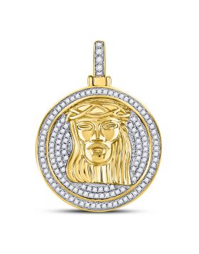 10kt Yellow Gold Unisex Round Diamond Jesus Circle Medallion Charm Pendant 5/8 Cttw