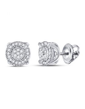 10kt White Gold Womens Round Diamond Cluster Earrings 1/8 Cttw