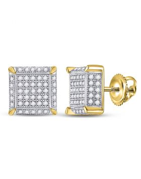 10kt Yellow Gold Unisex Round Diamond 3D Square Cluster Earrings 1/2 Cttw