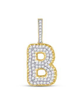 10kt Yellow Gold Unisex Round Diamond Letter B Charm Pendant 1-3/8 Cttw