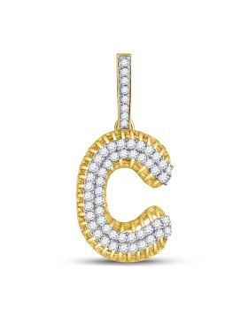 10kt Yellow Gold Unisex Round Diamond Letter C Charm Pendant 1-1/5 Cttw