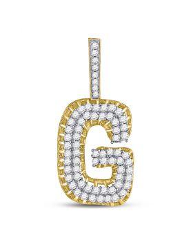 10kt Yellow Gold Unisex Round Diamond Letter G Charm Pendant 1-3/8 Cttw