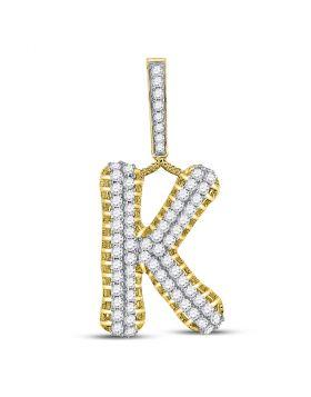 10kt Yellow Gold Unisex Round Diamond Letter K Charm Pendant 1-1/3 Cttw