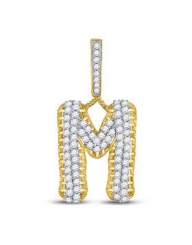 10kt Yellow Gold Unisex Round Diamond Letter M Charm Pendant 1-1/2 Cttw