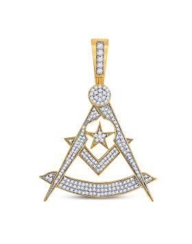 10kt Yellow Gold Unisex Round Diamond Freemason Square Compass Charm Pendant 7/8 Cttw