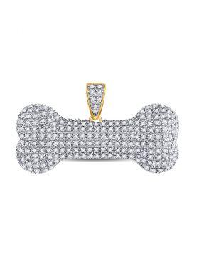 10kt Yellow Gold Unisex Round Diamond Dog Bone Charm Pendant 3/4 Cttw