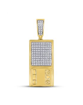 10kt Yellow Gold Unisex Round Diamond Digital Scales Ounce Charm Pendant 3/8 Cttw