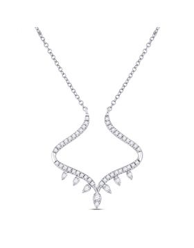 14kt White Gold Womens Round Diamond Fashion Necklace 1/4 Cttw