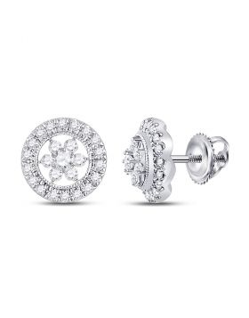 14kt White Gold Womens Round Diamond Cluster Earrings 3/8 Cttw