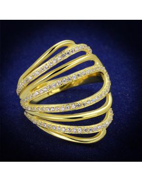 TS379-5 - 925 Sterling Silver Gold Ring AAA Grade CZ Clear