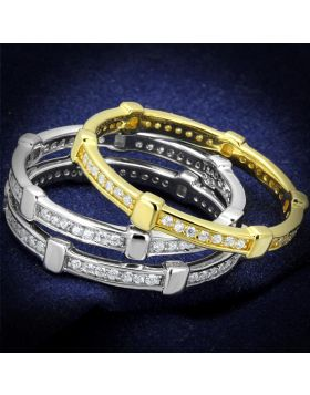 TS527-5 - 925 Sterling Silver Gold+Rhodium Ring AAA Grade CZ Clear