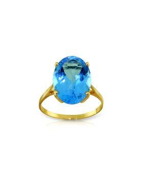8 Carat 14K Gold Ring Natural Oval Blue Topaz