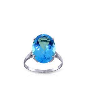 8 Carat 14K White Gold Ring Natural Oval Blue Topaz
