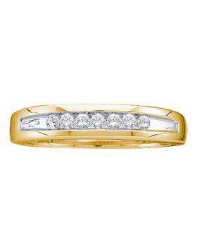 14kt Yellow Gold Unisex Round Channel-set Diamond Two-tone Single Row Wedding Band 1/4 Cttw