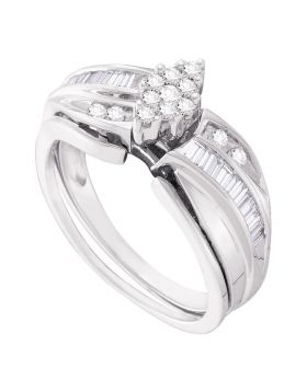 10kt White Gold Womens Round Diamond Cluster Bridal Wedding Engagement Ring Band Set 3/8 Cttw