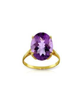 7.55 Carat 14K Gold Ring Natural Oval Purple Amethyst