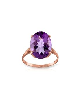 7.55 Carat 14K Rose Gold Ring Natural Oval Purple Amethyst