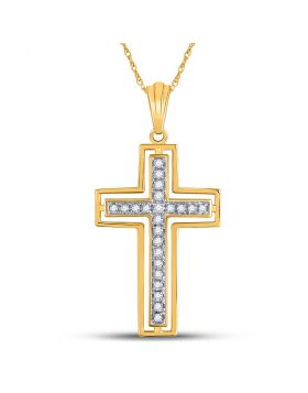 10kt Yellow Gold Womens Round Diamond Cross Pendant 1/4 Cttw