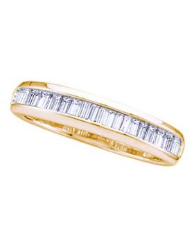 14kt Yellow Gold Womens Baguette Diamond Wedding Anniversary Band Ring 1/6 Cttw