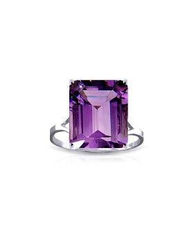 6.5 Carat 14K White Gold Ring Natural Octagon Purple Amethyst