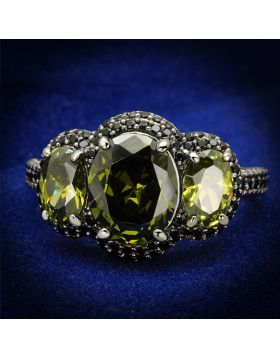 TS547-5 - 925 Sterling Silver Ruthenium Ring AAA Grade CZ Olivine color