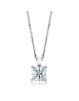 LOS895-18 - 925 Sterling Silver Rhodium Chain Pendant AAA Grade CZ Clear