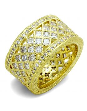 LO3351-5 - Brass Gold Ring AAA Grade CZ Clear