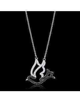 TS563-16.5 - 925 Sterling Silver Rhodium + Ruthenium Chain Pendant AAA Grade CZ Clear