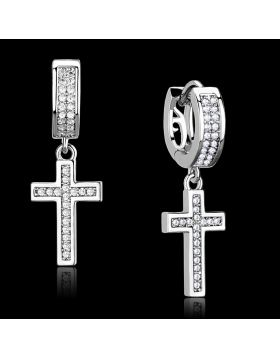 TS295 - 925 Sterling Silver Rhodium Earrings AAA Grade CZ Clear