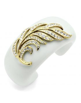 VL028-5.5 - Brass IP Gold(Ion Plating) Bangle Synthetic White