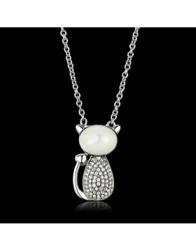 TS410-16 - 925 Sterling Silver Rhodium Chain Pendant Synthetic Clear
