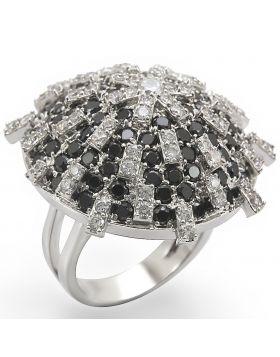 Ring Brass Rhodium AAA Grade CZ Black Diamond