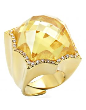 Ring Brass Gold AAA Grade CZ Citrine Yellow