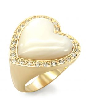 Ring Brass Gold Synthetic White Synthetic Glass