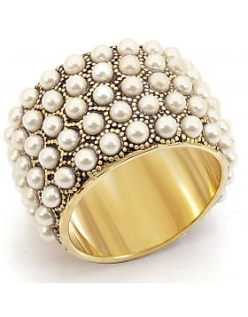 Ring Brass Gold Synthetic Citrine Yellow Pearl