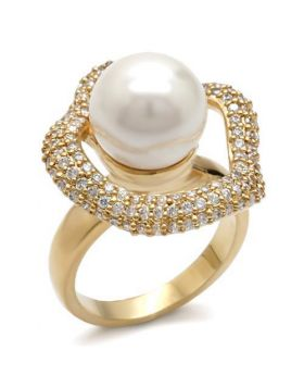 Ring Brass Gold Synthetic White Pearl
