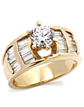 Ring Brass Gold AAA Grade CZ Clear Round