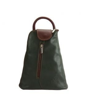 Michela leather Backpack - Green/Brown
