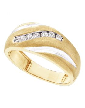 14kt Yellow Gold Unisex Round Diamond Band Ring 1/4 Cttw