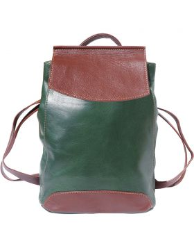 Lockme Backpack in soft leather - Brown/Green