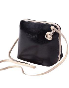Dalida leather crossbody bag - Black/Beige