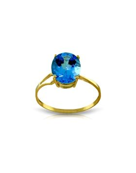 2.2 Carat 14K Gold Party Themed Blue Topaz Ring