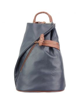 Fiorella leather backpack - Dark Blue/Brown